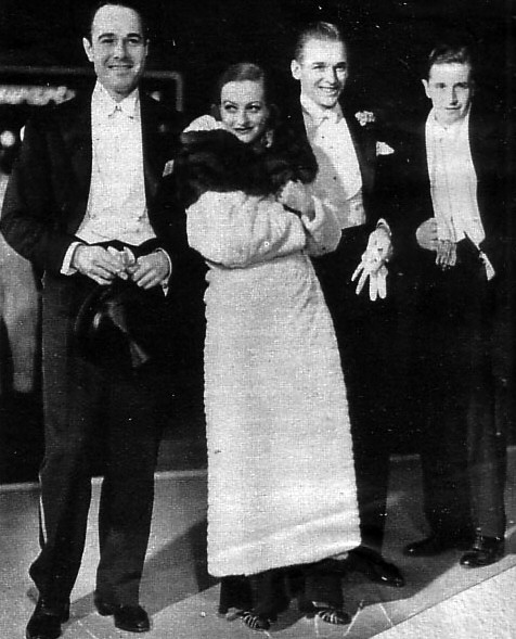 1931. With William Haines, left, and husband Doug Fairbanks, Jr.