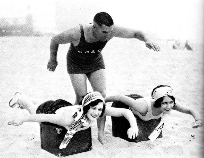 1925. With coach Frank Holborrow and Dorothy Sebastian at Club Casa Del Mar in Santa Monica.