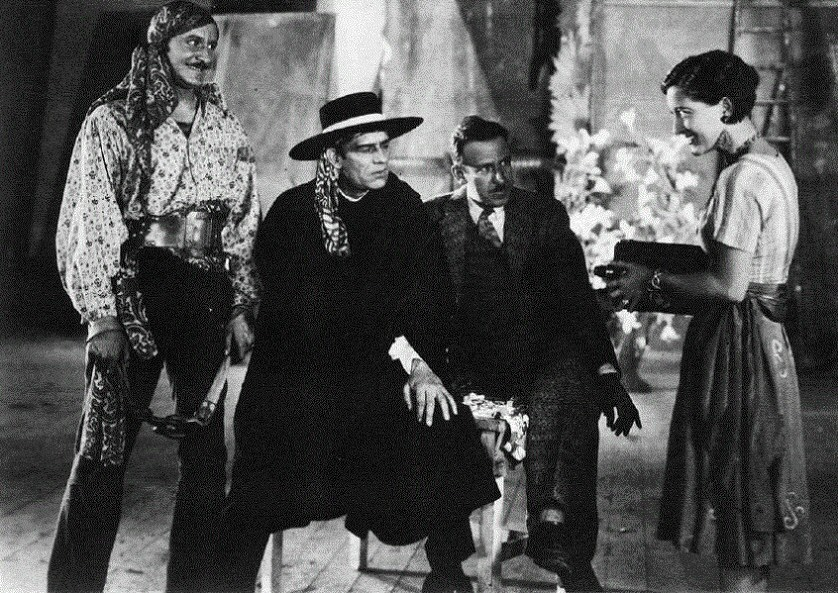 1927. On the set of 'The Unknown.' With Norman Kerry, Lon Chaney, and director Tod Browning.
