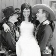 1928. On the set of 'Law of the Range' with Rex Lease and Tim McCoy.