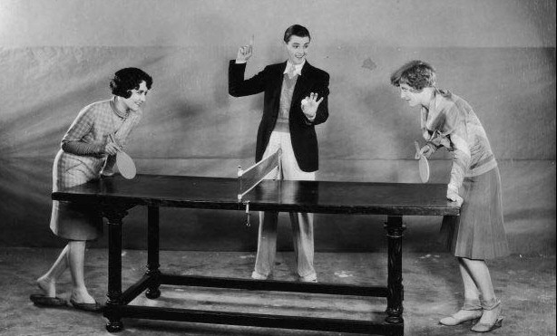 Publicity shot for 'Our Dancing Daughters.' Joan with Dorothy Sebastian and co-star/ref Eddie Quillan.