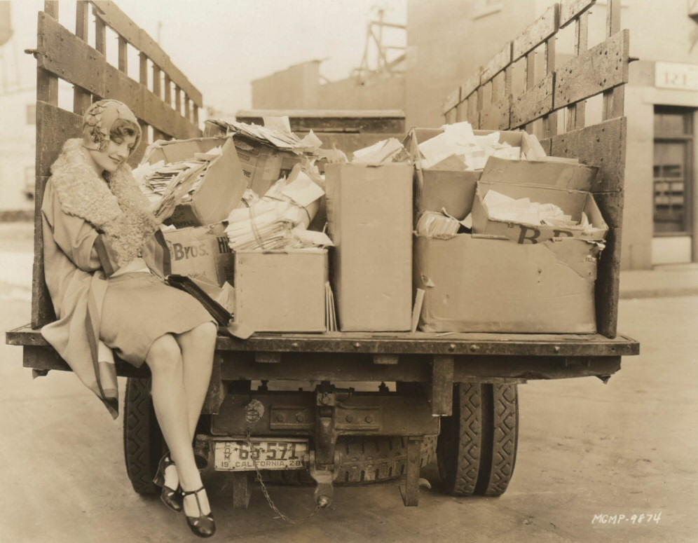 1928 on the MGM lot with her fan mail.