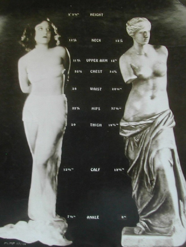 1928. Movie magazine comparison of Joan with the Venus de Milo.