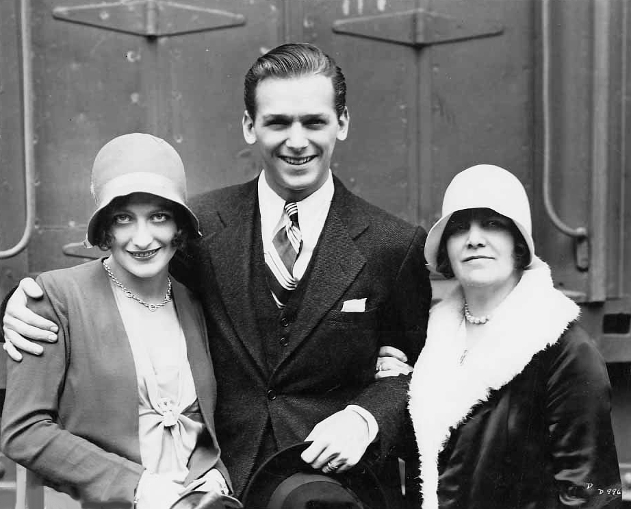 6/10/29. Joan and Doug arrive back in Los Angeles after their wedding. With Joan's mother Anna Bell.