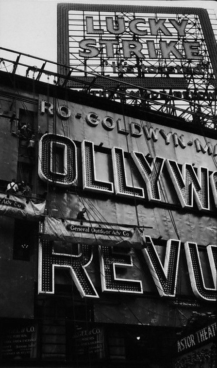 Constructing the 'Hollywood Revue' sign at the Astor in NYC.