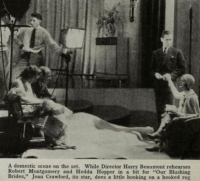 1930. On the set of 'Our Blushing Brides.' (Thanks to Shane.)