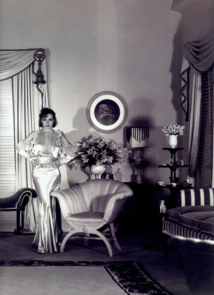 1933. At home. Shot by Hurrell. Furniture by William Haines.