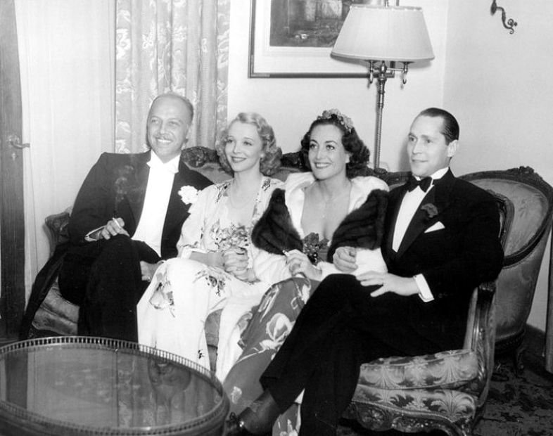 April 19, 1936. At the Beverly Wilshire Mayfair Ball with Mitchell Leisen, Virginia Bruce, and Franchot Tone.