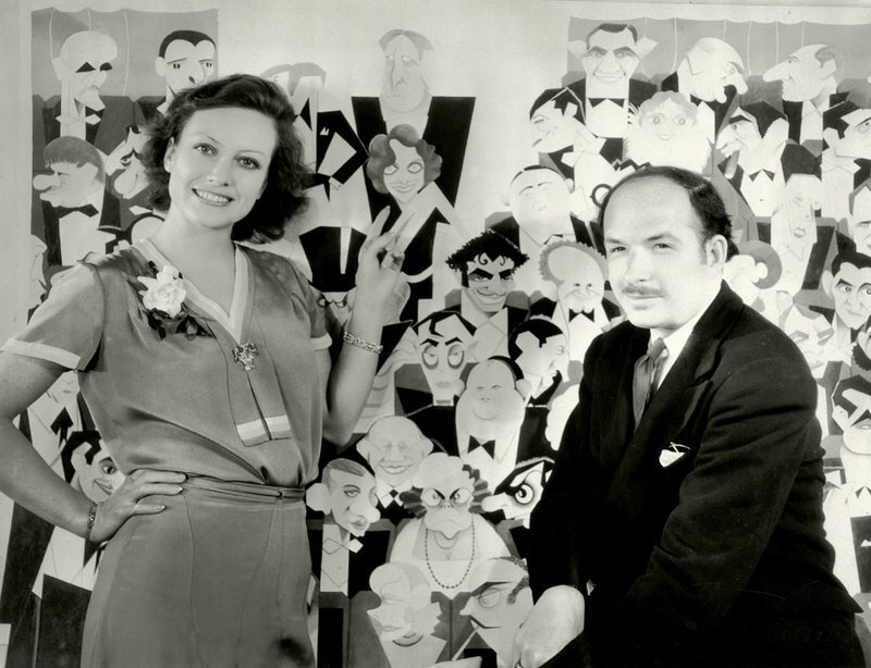 1930. With Xavier Cugat and his Grauman's caricature of her.