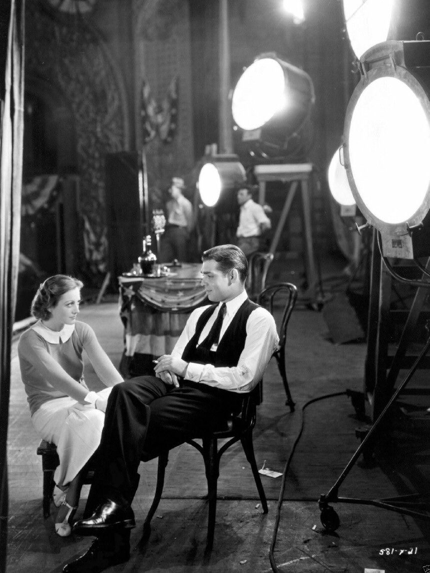 1931. On the set of 'Possessed' with Clark Gable.