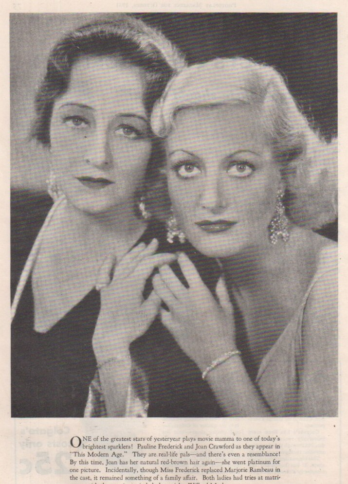 1931. Publicity for 'This Modern Age' with Pauline Frederick.