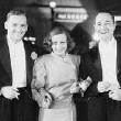 October 1932. At the 'Rain' premiere, with Doug Jr., William Haines, and Robert Young.