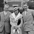 1932. In Chantilly, France, with unknown (left) and husband Doug (right).