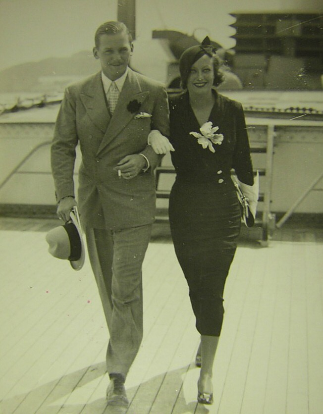 August 1932. With husband Doug Fairbanks, Jr., traveling in Europe.