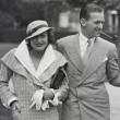 1932. With husband Douglas Fairbanks, Jr., in Chantilly, France.