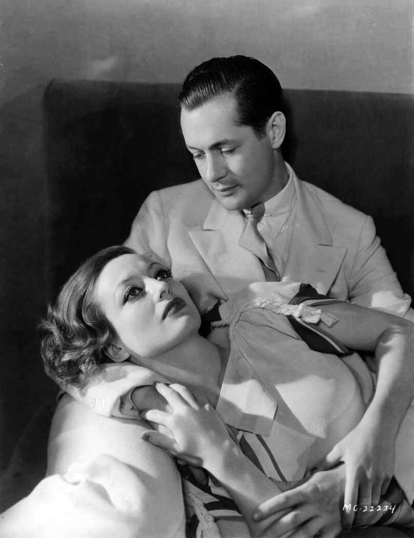 1932. Publicity for 'Letty Lynton' shot by Hurrell. With Robert Montgomery.