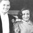 October 1932. At the premiere of 'Rain,' with husband Doug Fairbanks, Jr., left, and pal William Haines.