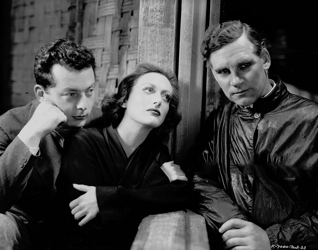 1932. Publicity on the set of 'Rain' with director Lewis Milestone (left) and Walter Huston.