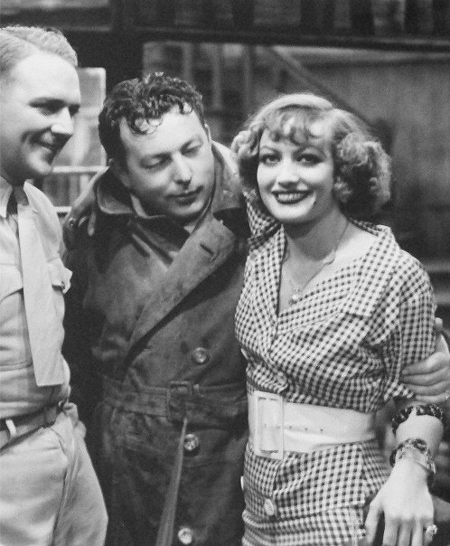 1932. On the set of 'Rain' with William Gargan and director Lewis Milestone.
