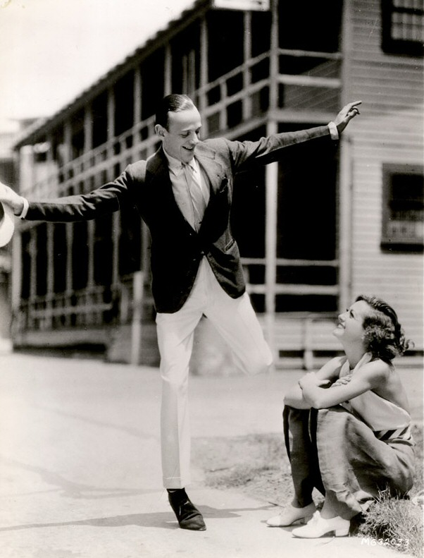 1933. With Fred Astaire on the 'Dancing Lady' set.