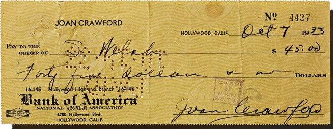 A personal check from 1933.