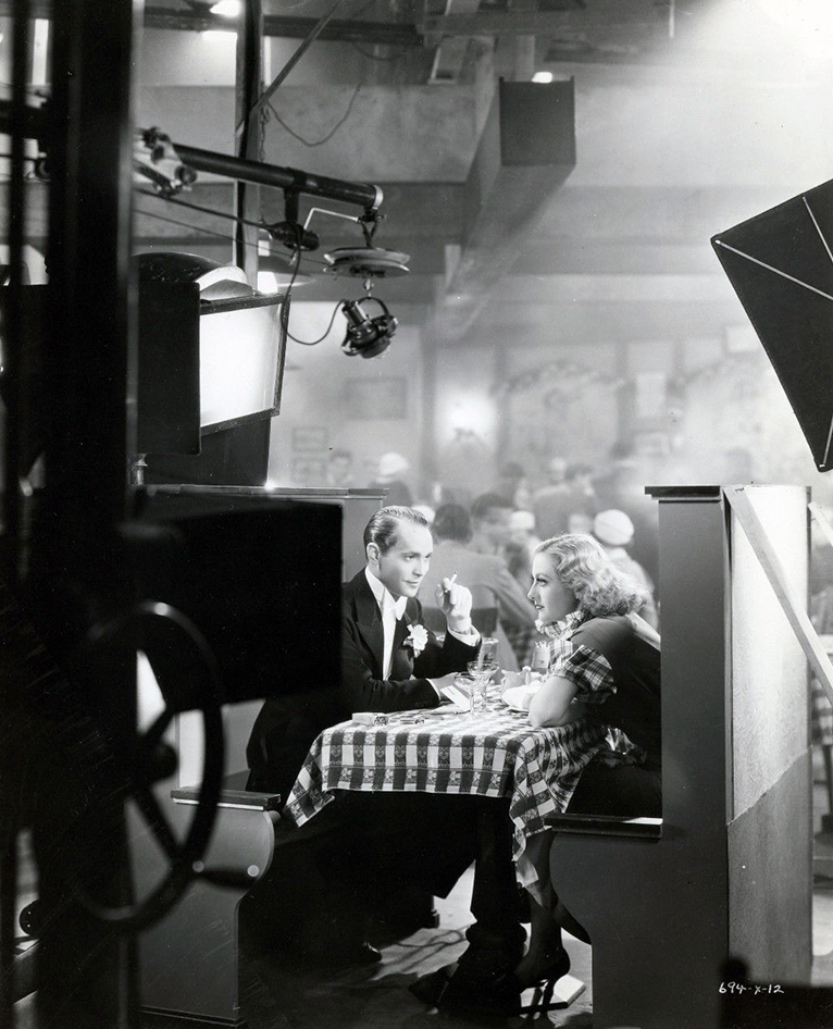 1933. On the set of 'Dancing Lady' with Franchot Tone.