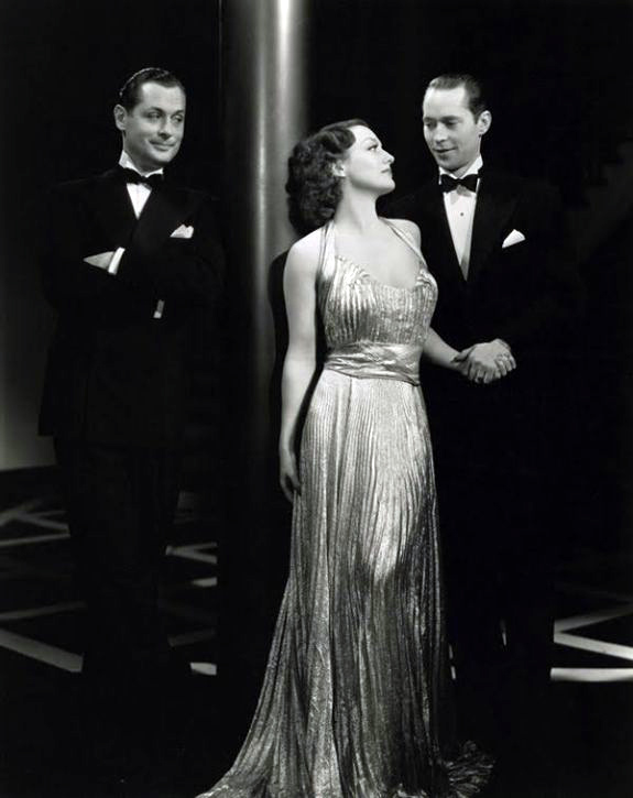 1935. 'No More Ladies' publicity with Robert Montgomery, left, and Franchot Tone.