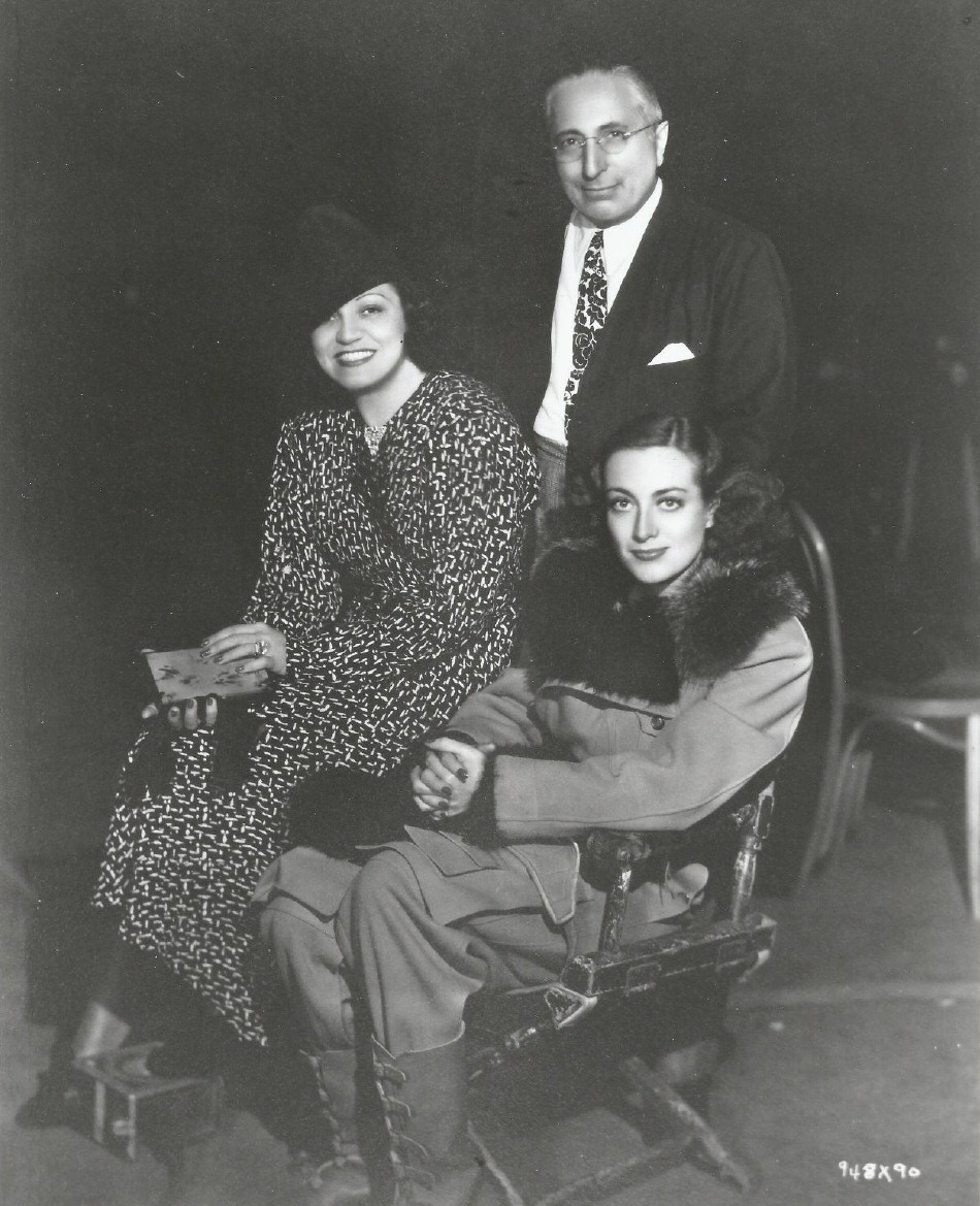 1936. On the set of 'Love on the Run' with Louis B. Mayer and Rosa Ponselle.