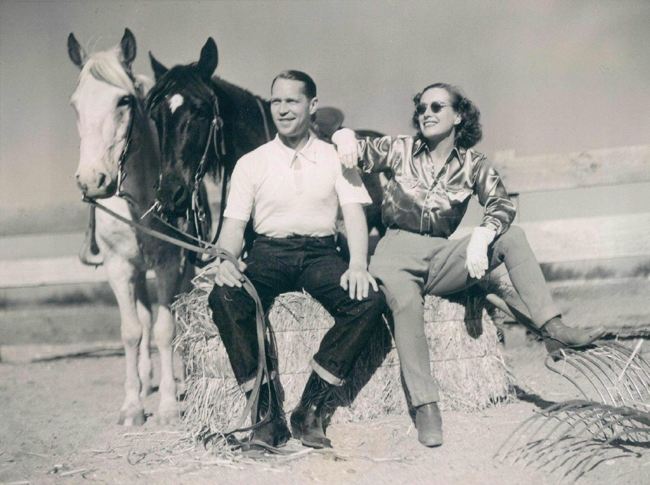 April 1937 at the B-Bar-H ranch in Palm Springs, with Franchot Tone.