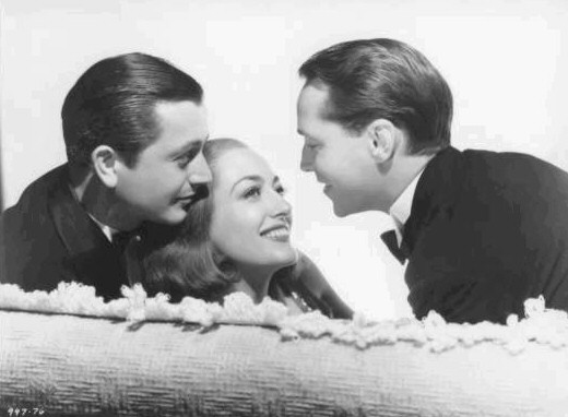 With Robert Young, left, and Franchot Tone.