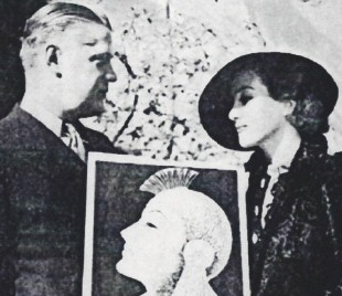 Don Blanding presents Joan with a portrait of herself, inspired by '33's 'Dancing Lady.' From the 1937 'Carmel Pine Cone' paper. (Thanks to Thomas Markle.)