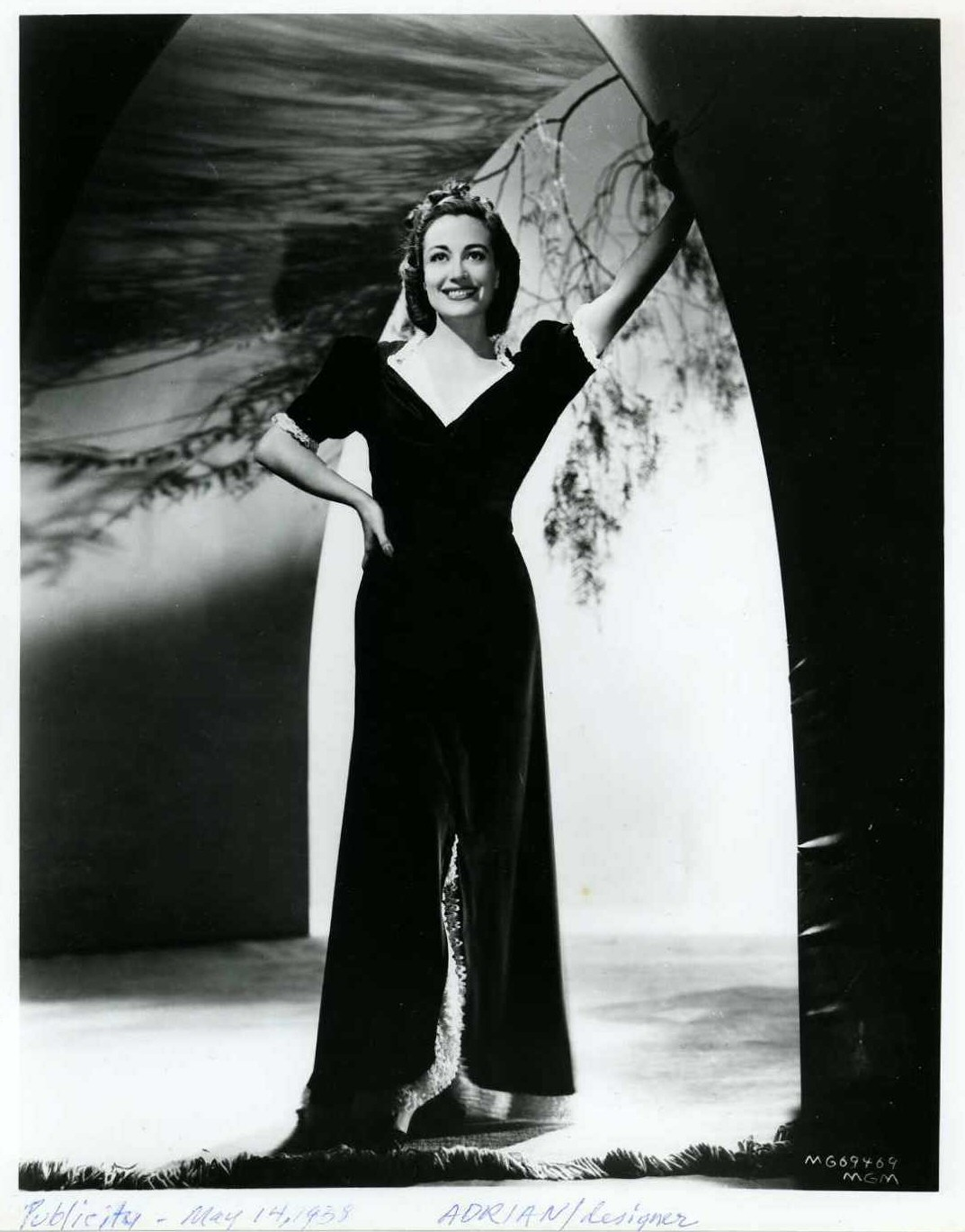 May 14, 1938, publicity. Dress by Adrian.