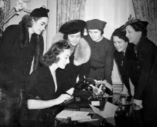 April 1938 at the Waldorf, with NYC newspaperwomen.