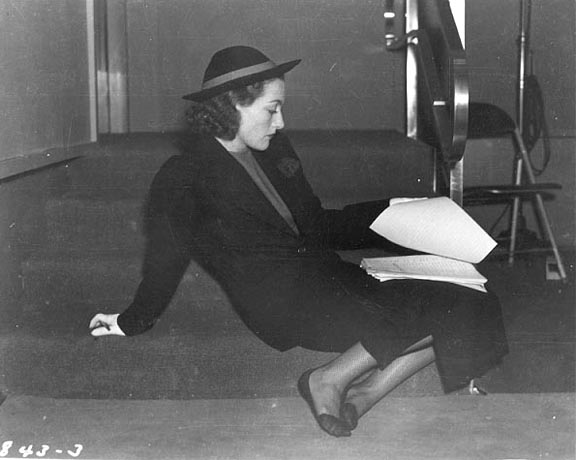 May 7, 1939. Joan on the set of CBS's 'Train Ride' radio program.
