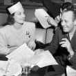 January 8, 1939. With Jack Benny on the set of the CBS radio 'Screen Guild Players' show.