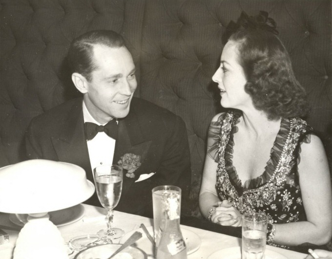 March '39. With Franchot Tone in NYC, celebrating the eve of their divorce.