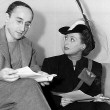 1940. With playwright Arch Oboler, rehearsing for his 3/2/40 NBC radio show 'Baby.'