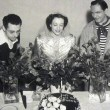 On the set with George Cukor, Fredric March, and 'Just Call Me Susan' cake.