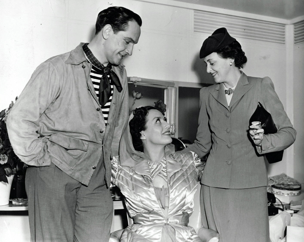 1940. On the set of 'Susan and God' with Fredric March and his wife, actress Florence Eldridge.
