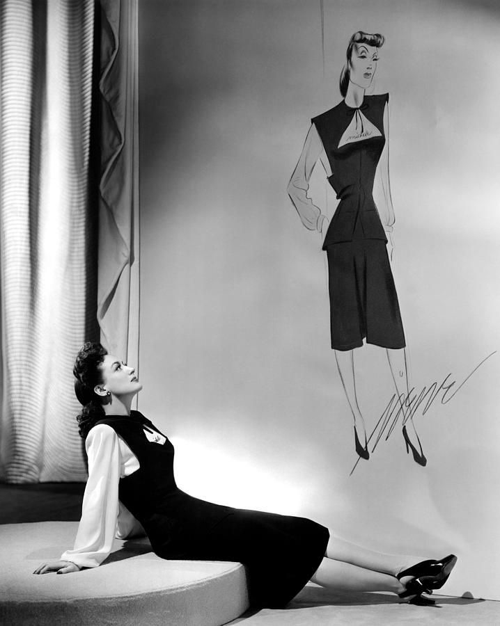 1941. 'Reunion in France' publicity with outfit and sketch by Irene.