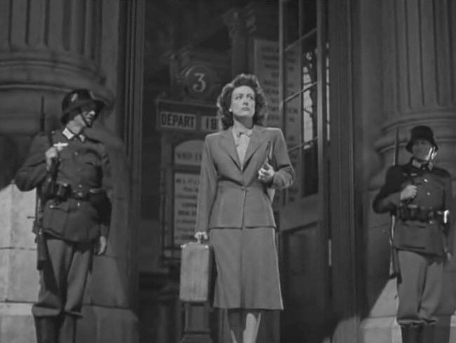 1942. A screen shot from 'Reunion in France.'