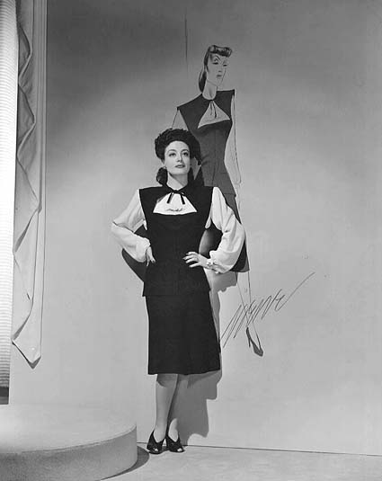 1942. With a 'Reunion in France' costume sketch by Irene.