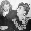 1945. Warners reception for Joan at NYC's Sherry-Netherland hotel. With Nancy Walker.