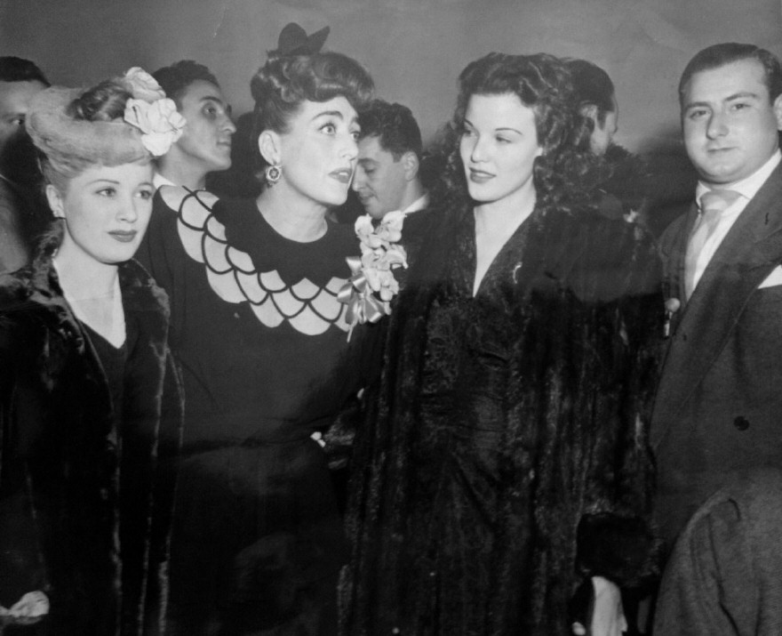 1943. At a Warners reception for Joan at NYC's Sherry-Netherland. With Edith Fellows, left, and Nanette Fabray.