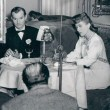 With Zachary Scott on the set of 'Mildred Pierce.'