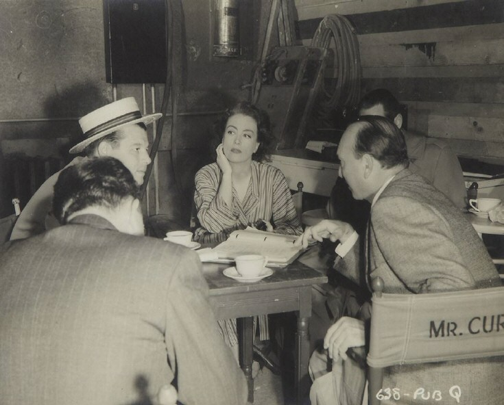 1945. On the set of 'Mildred Pierce.'