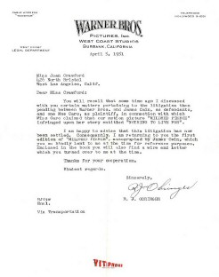 1951 attorney letter to Joan re 'Mildred' litigation.