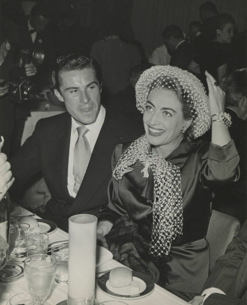 February 1947. At the 'Look' awards party with Peter Shaw.