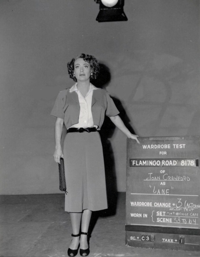 1949. 'Flamingo Road' wardrobe test.