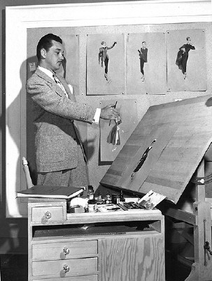 William Travilla with 'Flamingo Road' sketches.